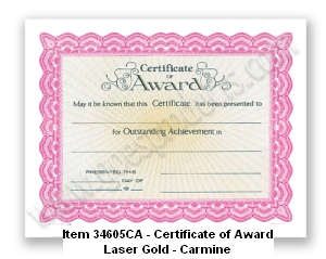 34605CA Certificate of Award