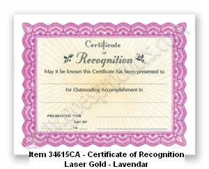 34615CA Certificate of Recognition