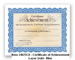 34625CA Certificate of Achievement
